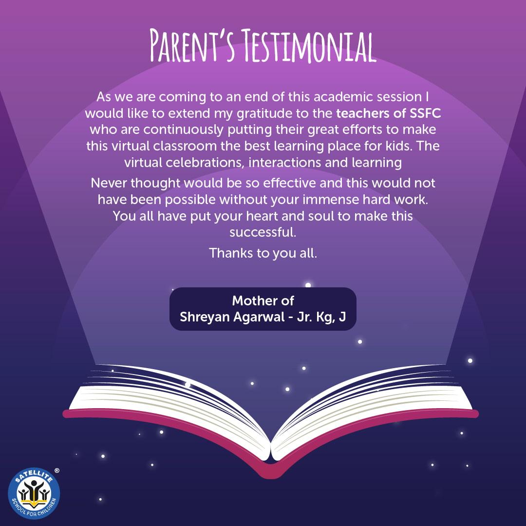 Parent's Testimonial Satellite School for Children